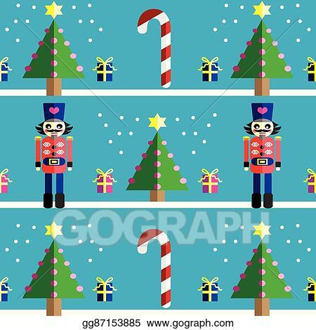 Nutcracker Christmas Tree Clipart.Vector Illustration Christmas Pattern With Nutcracker Eps