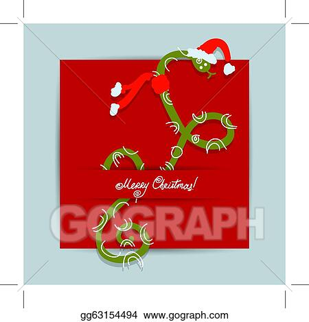 Vector Stock Christmas Postcard Design With Snake Symbol Of
