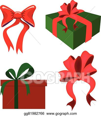 Drawings Of Christmas Presents.Vector Art Christmas Presents And Bows Vector Clipart