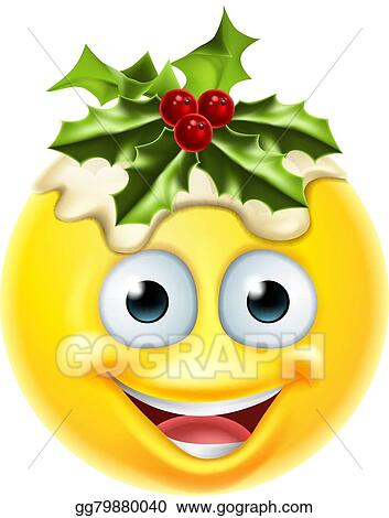 EPS Vector - Christmas pudding emoticon