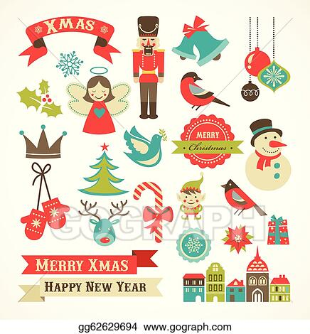Merry Christmas Retro Icons Elements And Illustrations