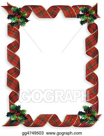 christmas ribbons frame holly - Plaid Christmas Ribbon