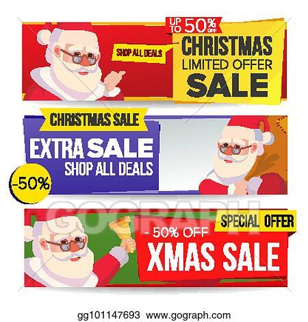 53c56a14b1e6 Christmas Sale Banner Vector. Merry Christmas Santa Claus. Discount Tag