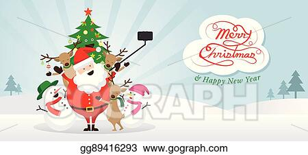 christmas santa claus and friends selfie snow scene