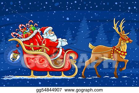 christmas santa claus moving on the sledge with reindeer and gifts vector illustration - Santa With Reindeer