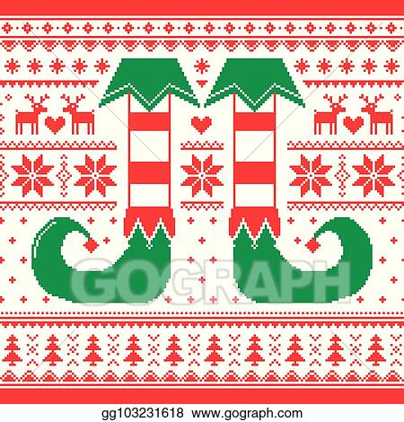 f96537f8083b Clip Art Vector - Christmas seamless pattern with elf and reindeer ...