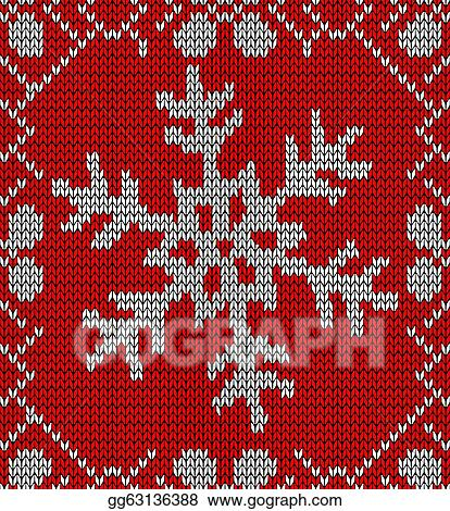 Eps Vector Christmas Snowflake Knitting Pattern Stock Clipart