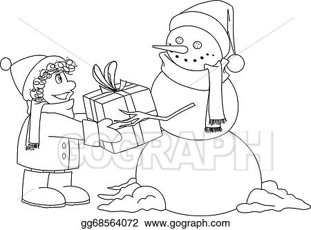Christmas Snowman Gives Present To Boy Coloring Page