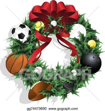 Clip Art Vector - Christmas sports wreath with red ribbon. Stock EPS Xmas Clip Art Free Golf Cart Html on
