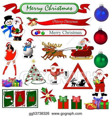 Drawing - Christmas symbols isolated. Clipart Drawing ...