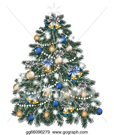 Stock Illustration Christmas Tree Decorated By Balls On White