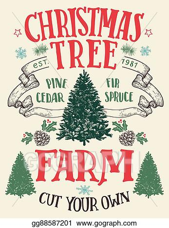 Vector Art Christmas Tree Farm Vintage Sign Clipart Drawing