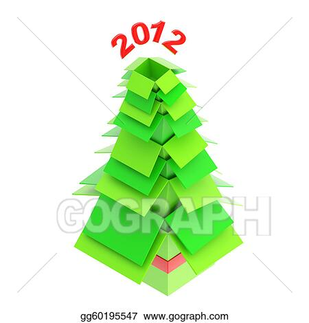 Stock Illustration Christmas Tree Made Of Cardboard Boxes Stock