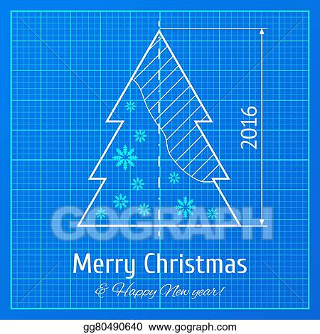 vector illustration christmas tree on graph paper stock clip art