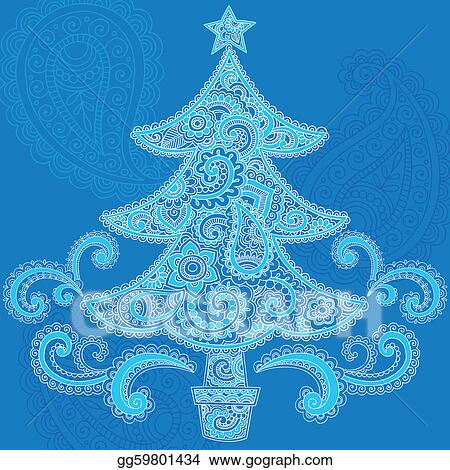 Eps Vector Christmas Tree Paisley Henna Vector Stock Clipart