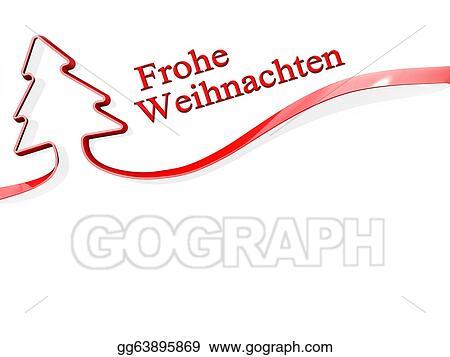 Frohe Weihnachten Clipart.Stock Illustration Christmas Tree Ribbon Merry Christmas German