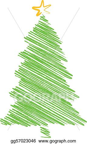 EPS Vector  Christmas tree scribble drawing Stock Clipart