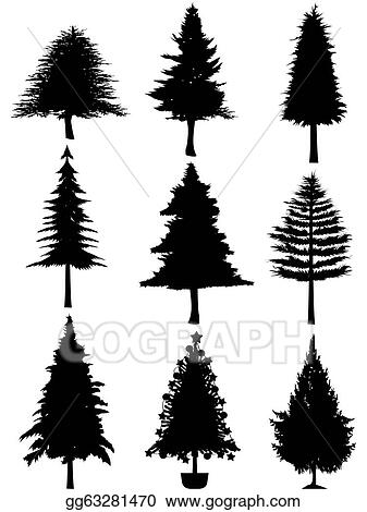 Vector Art Christmas Tree Silhouette Clipart Drawing Gg63281470