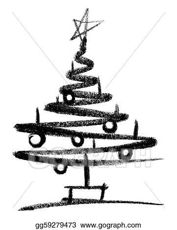 Drawing Christmas Tree Sketch.Drawing Christmas Tree Sketch Clipart Drawing Gg59279473