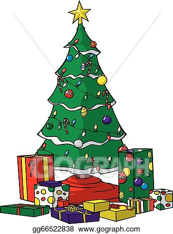 Drawing Of A Christmas Tree.Vector Art Christmas Tree With Presents Clipart Drawing