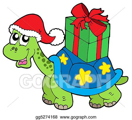 Christmas Illustrations Clip Art.Stock Illustration Christmas Turtle With Gift Clipart