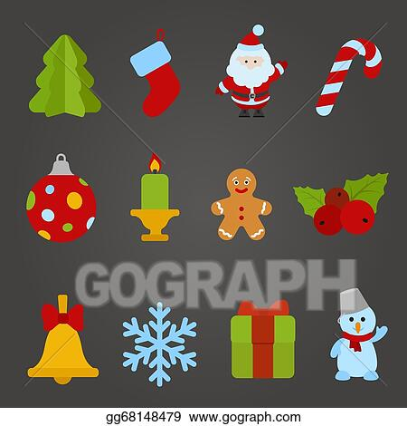 christmas vector flat design icon set happy new year theme collection christmas tree santa claus candle cookie bell snowflake gift snowman