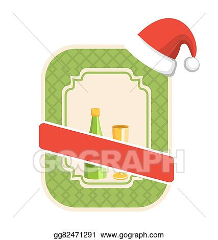 christmas winter and new year label icon with sparkling wine and