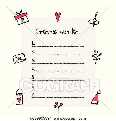 vector illustration christmas wish list template hand drawn
