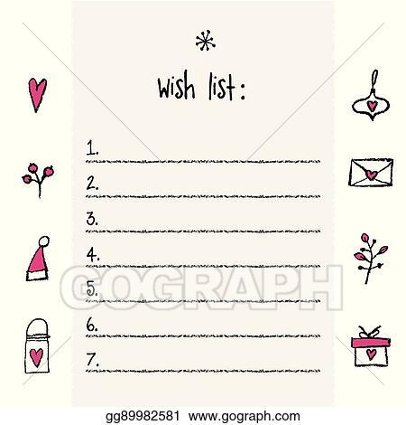 Printable Christmas Wish List Template.Vector Illustration Christmas Wish List Template Hand