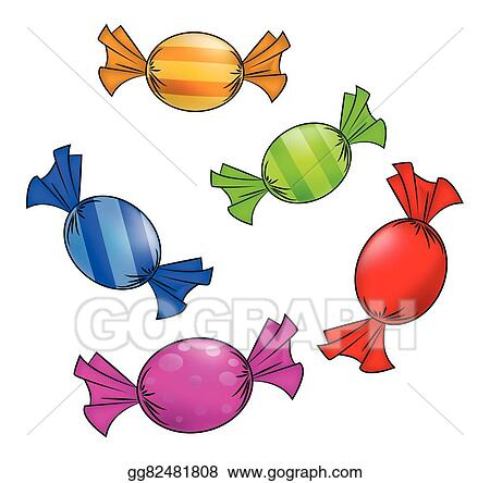 Candy colorful. Vector clipart christmas wrapped
