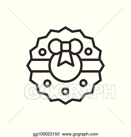 christmas wreath with bow thin line icon new year celebration outline decorated pictogram xmas winter element vector simple flat linear design logo