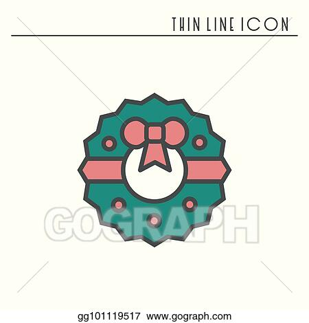Christmas Wreath Silhouette.Vector Clipart Christmas Wreath With Bow Thin Line Icon