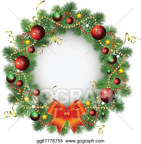 Christmas Wreath Clipart.Vector Art Christmas Wreath Clipart Drawing Gg61776755