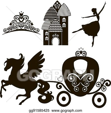 Vector clipart cinderella set of collections crown vector crown vector illustration design elements for little princess glamour girl cards for birthday wedding invitation the carriage the palace pegasus stopboris Choice Image