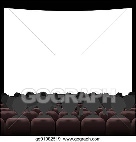 eps vector cinema auditorium with screen and seats stock clipart rh gograph com outdoor movie screen clipart movie theater screen clipart