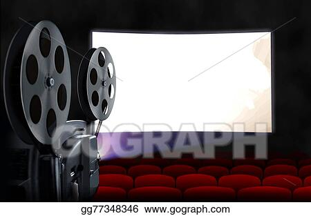 Drawing Cinema Screen With Projector Clipart Drawing
