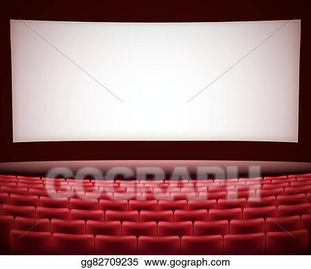 Vector Illustration Cinema Theater Background With Red Seats Space For Text Vector Stock Clip Art Gg82709235 Gograph