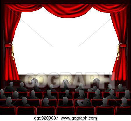 Vector Illustration - Cinema with audience. Stock Clip Art ...