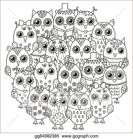 Vector Stock - Circle shape pattern with cute owls for coloring book ...