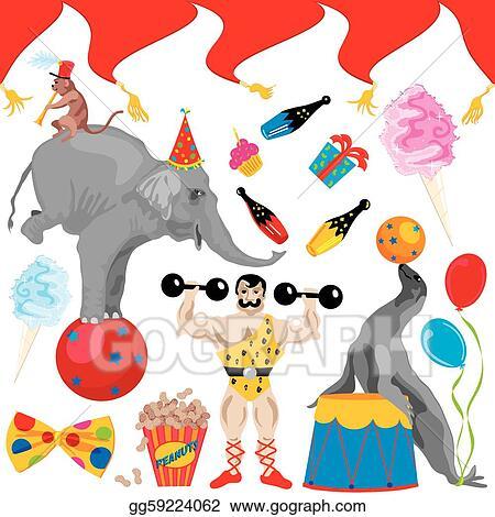 eps illustration circus birthday party clip art elem vector rh gograph com clipart 40th birthday party clipart for birthday party invitation