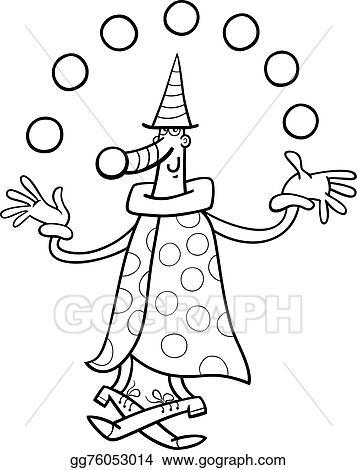Vector Stock - Circus clown juggler coloring page. Clipart ...