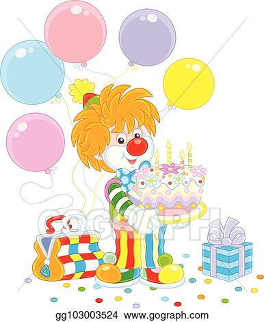 Magnificent Eps Vector Circus Clown With A Birthday Cake Stock Clipart Funny Birthday Cards Online Bapapcheapnameinfo