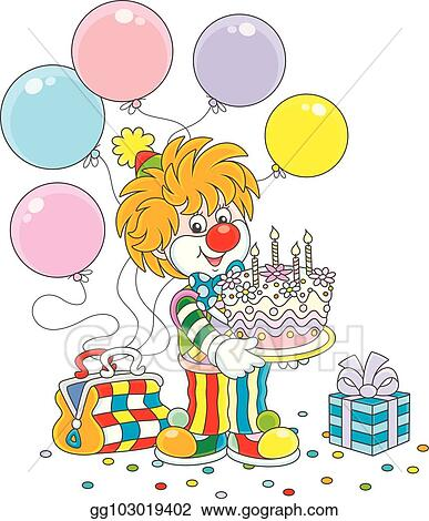 Fabulous Eps Vector Circus Clown With A Birthday Cake Stock Clipart Funny Birthday Cards Online Bapapcheapnameinfo