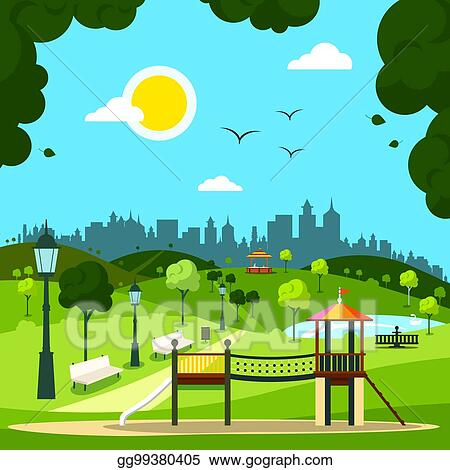 Vector Illustration City Garden With Children S Playground And City Silhouette On Background Sunny Day In Park Stock Clip Art Gg99380405 Gograph