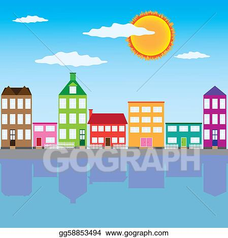 vector art city on the river clipart drawing gg58853494 gograph https www gograph com clipart license summary gg58853494