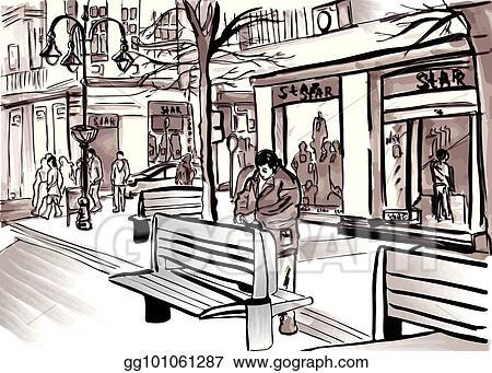 Vector Illustration City Sketch Vector By Pedestrian Street Life Big Town Stock Clip Art Gg101061287 Gograph