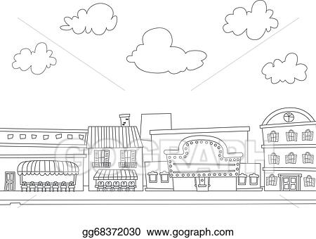 Clipart Black And - City Skyline Coloring Page - Png Download ... | 340x450