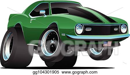 Eps Illustration Classic Sixties Style American Muscle Car Cartoon