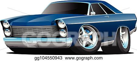 Vector Art Classic Sixties Style Big American Muscle Car Cartoon