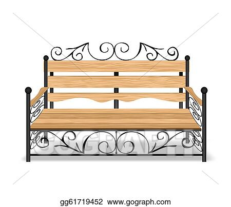 Vector Art Classical Park Bench Vector Illustration Clipart